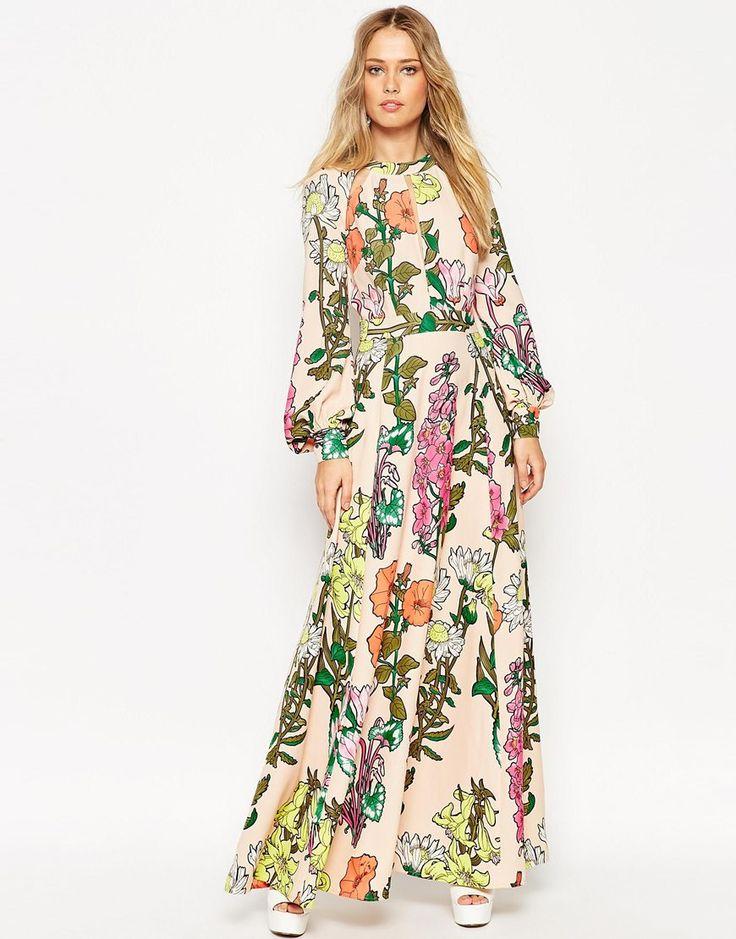 ASOS 70's Botanical Keyhole Kaftan Maxi Dress