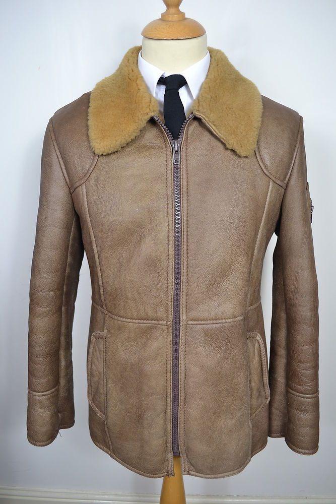 Leather Jacket Coat Vintage 1970s Gray Men's size 38 6ocCcIcn