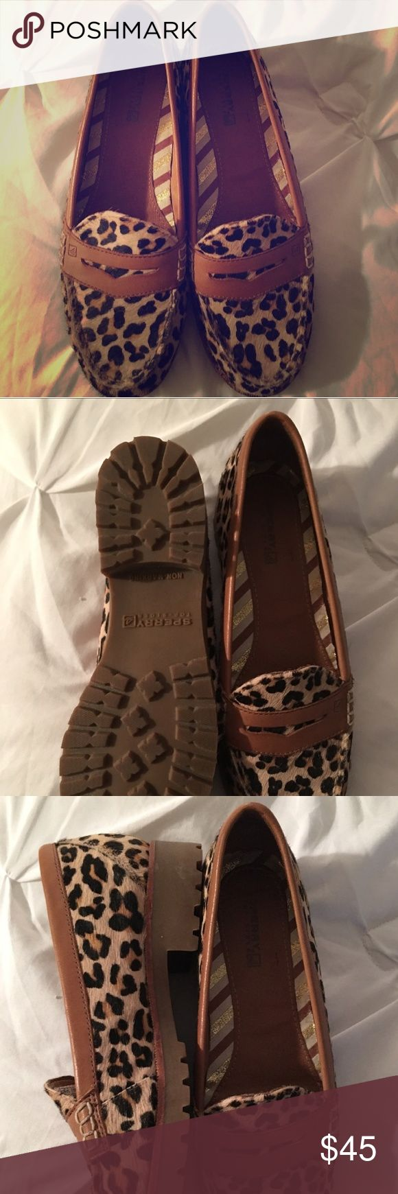 Cheetah Print Sperry Loafers These Sperry Loafers are comfy and chic! These are gently used.  Size is 7.5. Make me an offer! Sperry Shoes Flats & Loafers