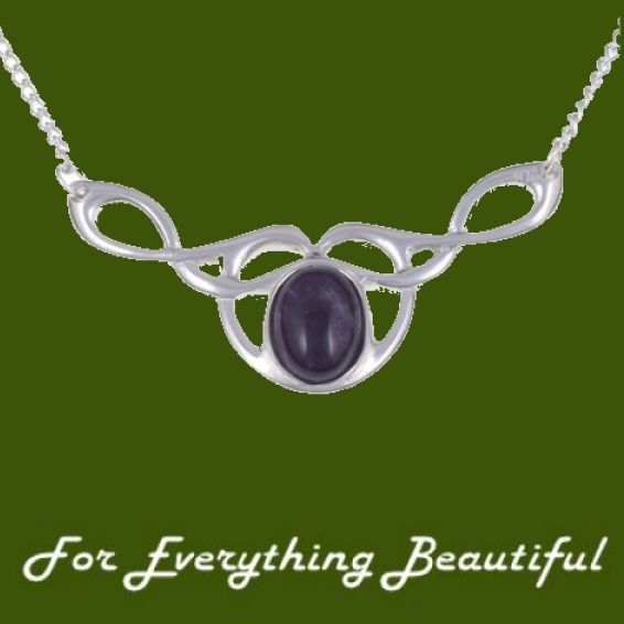 Celtic Bird Knotwork Amethyst Design Stylish Pewter Necklace