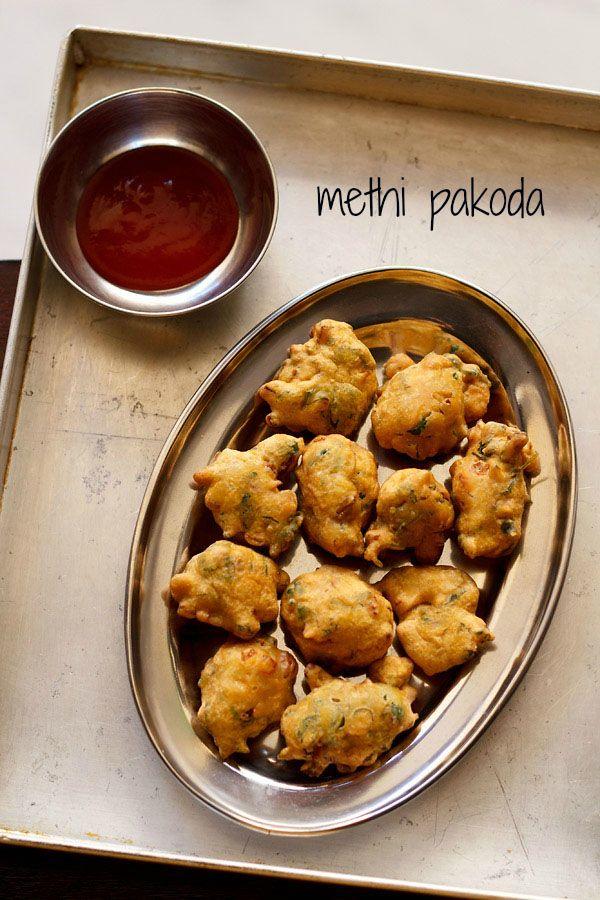methi pakora - spiced fresh fenugreek leaves fritters made with gram flour/besan.