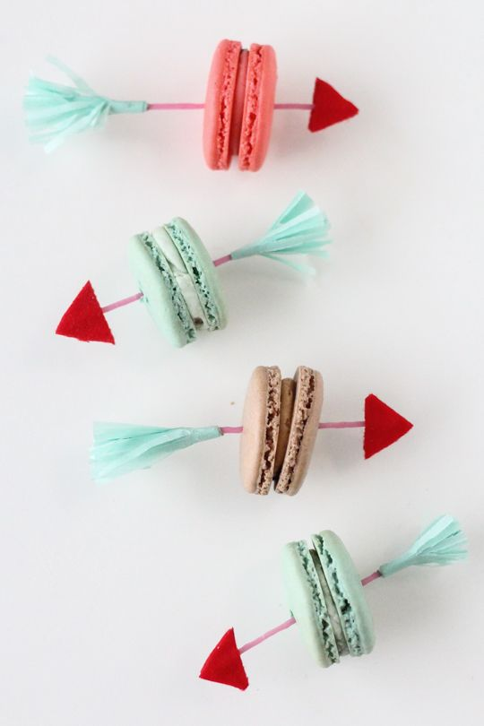 DIY Valentine Arrow Macaron Picks - super idea! Write your own little love message on them.