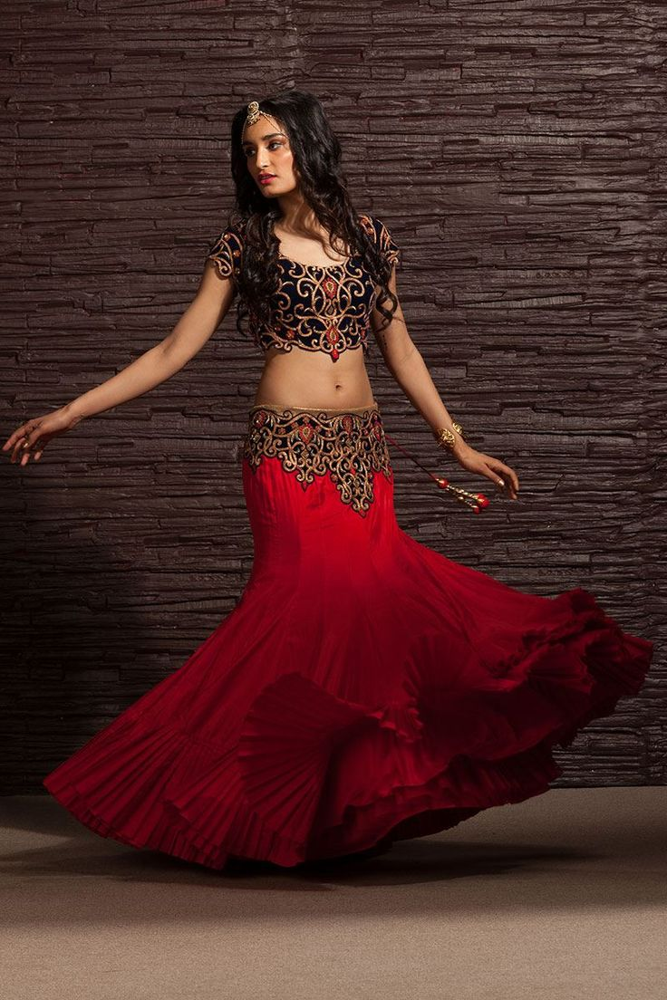 Show details for Attractive wedding wear blue & red color lehenga choli