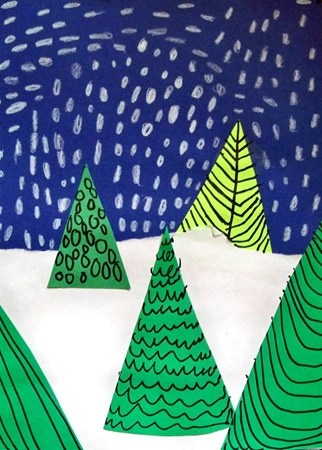 Do this before Christmas drawing contest.  Show three different types of trees...  And differerent types of snowflakes. Works on line quality.