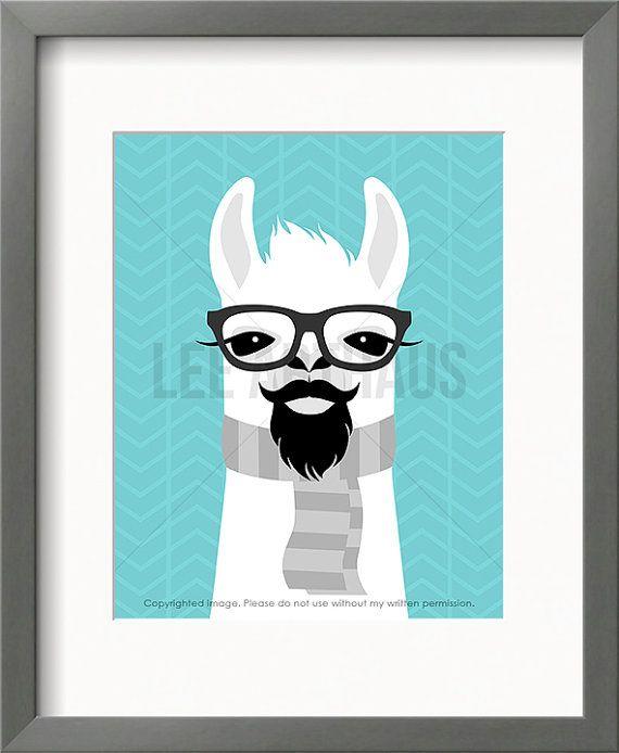 27J Llama Art Print Llama Wearing Glasses with Mustache and