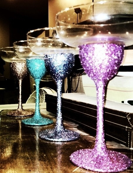 Glitter Margarita Glasses!!! @Brittany Horton Tayman lets do this for summer this weekend! We can go to dollar tree and get some