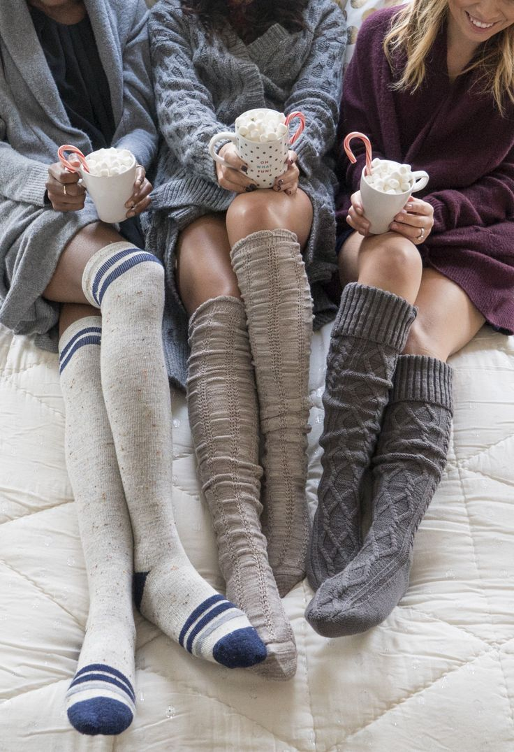 Holiday weekend goals: Cozy socks, girl talk and hot coca with peppermint sticks.