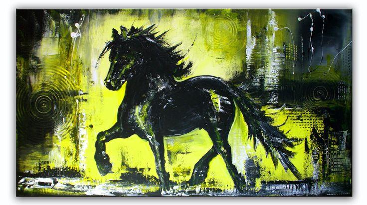 Black Beauty - Pferdebild Malerei Gemälde Unikat gelb schwarz grau #tierbilder #tiergemälde #tiermalerei #tiere #pferdebilder #pferdemalerei #pferdegemalt #gemaltepferde #handgemaltetiere #tierehandgemalt