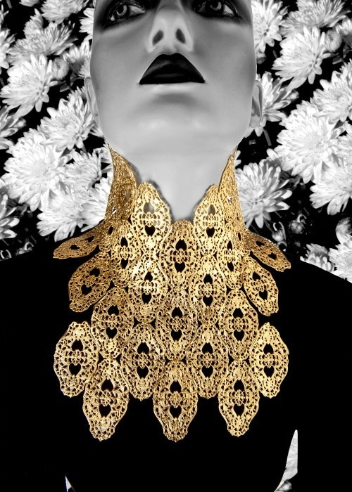 Gold Lace Bib Necklace by Alexis Bittar