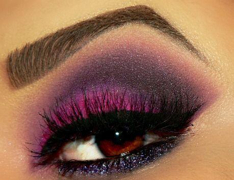 Bright Purple smokey eyeshadow with heavy black winged liner #eye #makeup #eyeshadow #glitter #dramatic #glam