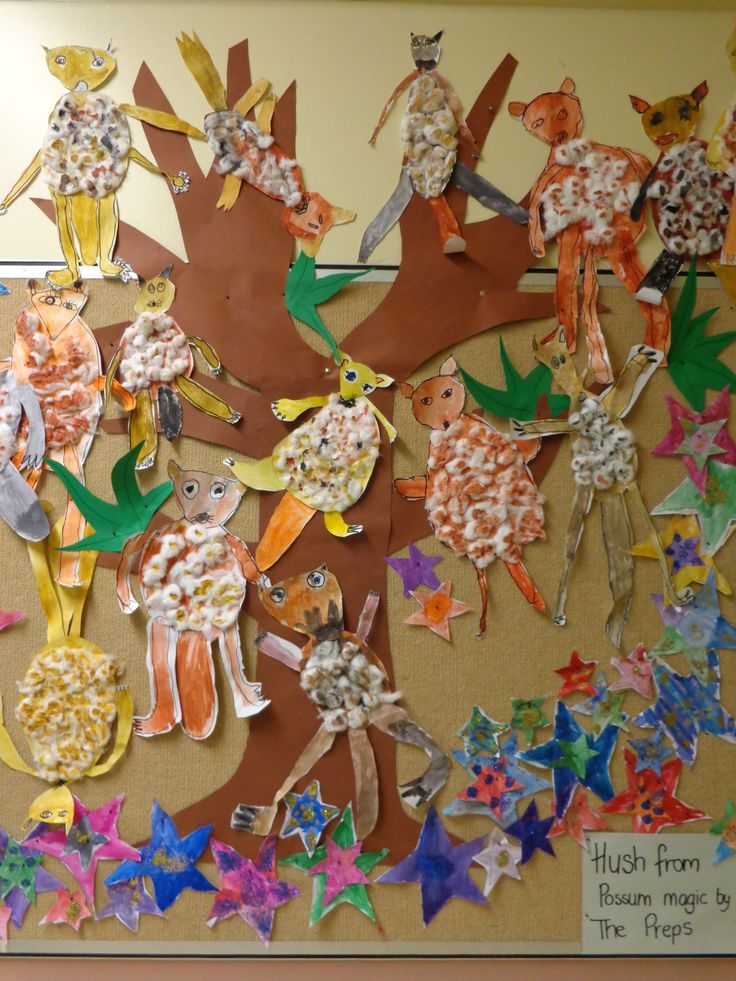 Prep's create their own Hush from Possum Magic mixed-media works during my Artists as Illustrators unit.