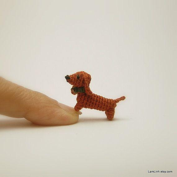 miniature animal 0.6 inch - dollhouse crochet brown Dachshund dog - tiny amigurumi animals on Etsy, $29.49