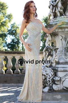 Luxurious Sweetheart Column Sweep Train Prom Dress Whole Beaded With Rhinestone High Quality USD 499.99 VVPPL11G5J6 - VividProm.com