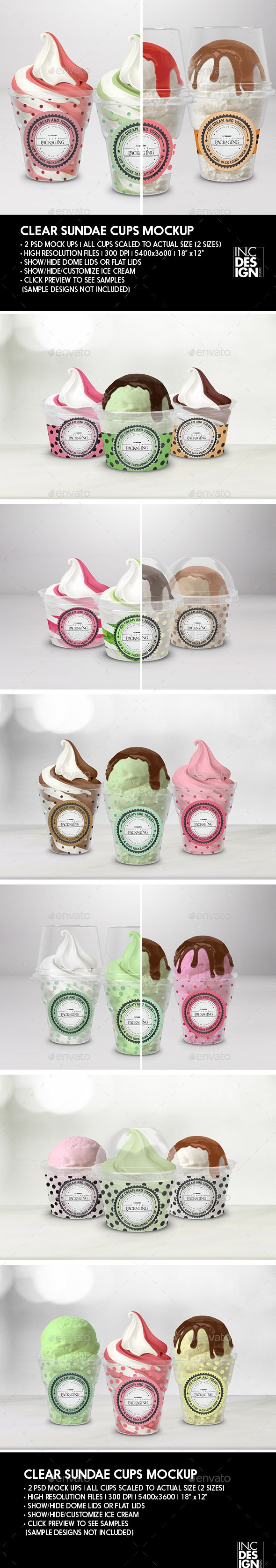 Clear Sundae Ice Cream Cups Packaging Mock up - Food and Drink Packaging