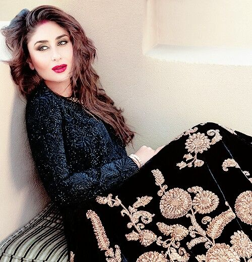 Kareena Kapoor in a pretty lehenga and bold lips.
