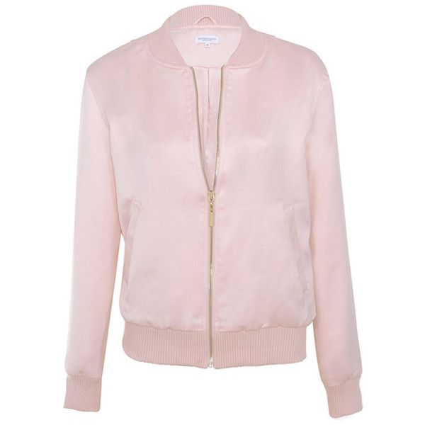 'Boss Lady' Pink Satin Bomber Jacket - Mistress Rocks (£88) ❤ liked on Polyvore featuring outerwear, jackets, pink flight jacket, style bomber jacket, bomber style jacket, bomber jacket and pink jacket