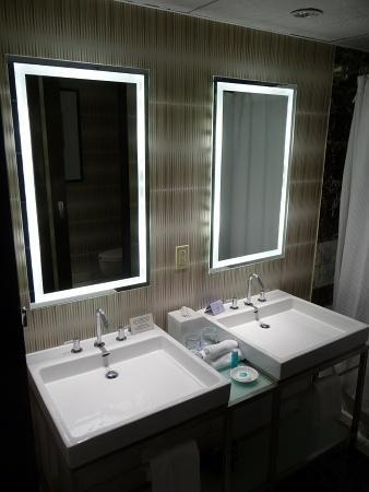 Contemporary Resort Bathroom Love These Mirrors With The Light Behind Them