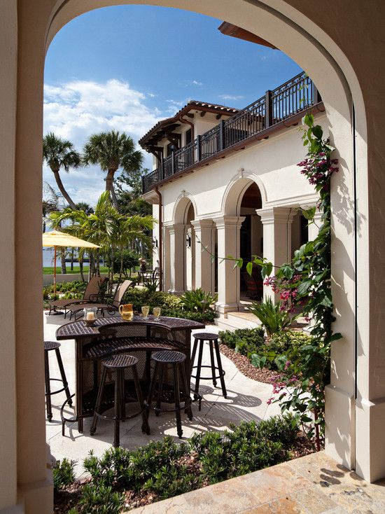 Wonderful Villa Architecture In The Seaside : Astonishing Porch With Outdoor Bar Stools Mediterranean Villa