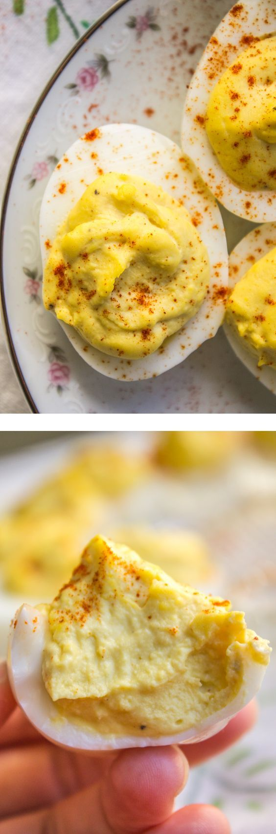 Deviled Eggs are an absolute must for Easter! This recipe is the classic version, nothing but mayonnaise, mustard, spices and perfectly cooked eggs. Okay and maybe a secret ingredient or two. from The Food Charlatan. (yummy recipes for two)