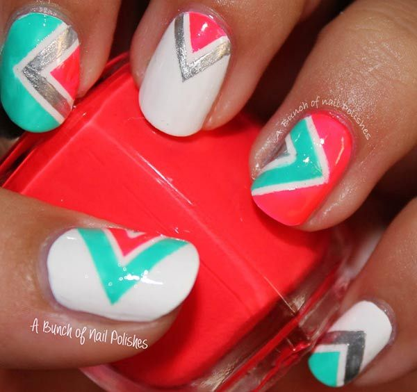 coral mint silver white neon geometry nails