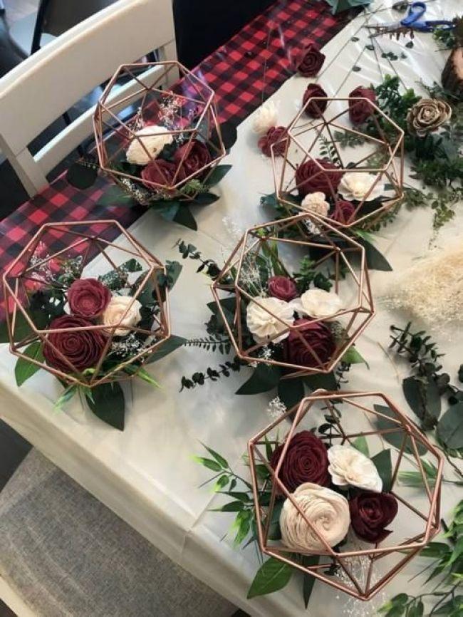 Einzigartige geometrische rosa und burgundische Blumenhochzeitsschmuck #burgundy