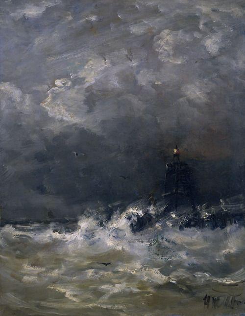 Lighthouse in the Surf - Hendrik Willem Mesdag 1860-1907 Dutch 1831-1915 Oil on panel, 52 × 40 cm (20.5 × 15.7 in) Rijksmuseum Amsterdam