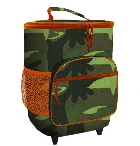 Colorful Camo  Orange Insulated Rolling Cooler Bag with Telescoping Handle 16inch 21quart Wheeled Cooler ** Details can be found by clicking on the image.