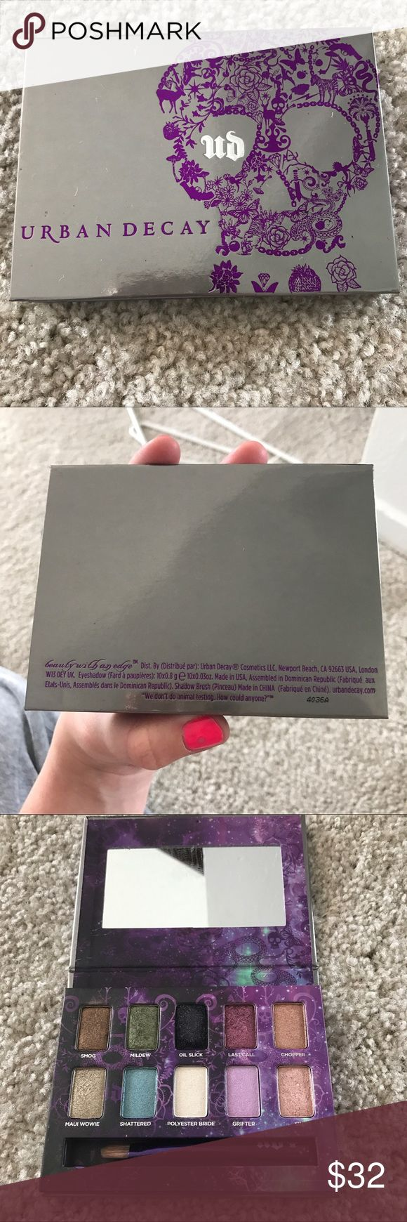 Urban Decay Ammo eyeshadow pallet GUC - the shades where hardly ever touched - but the black / oil slick - has loosened up from the pan - shadow is not falling out but if dropped it will easily break I imagine - will be packaged with extreme care Urban Decay Makeup Eyeshadow