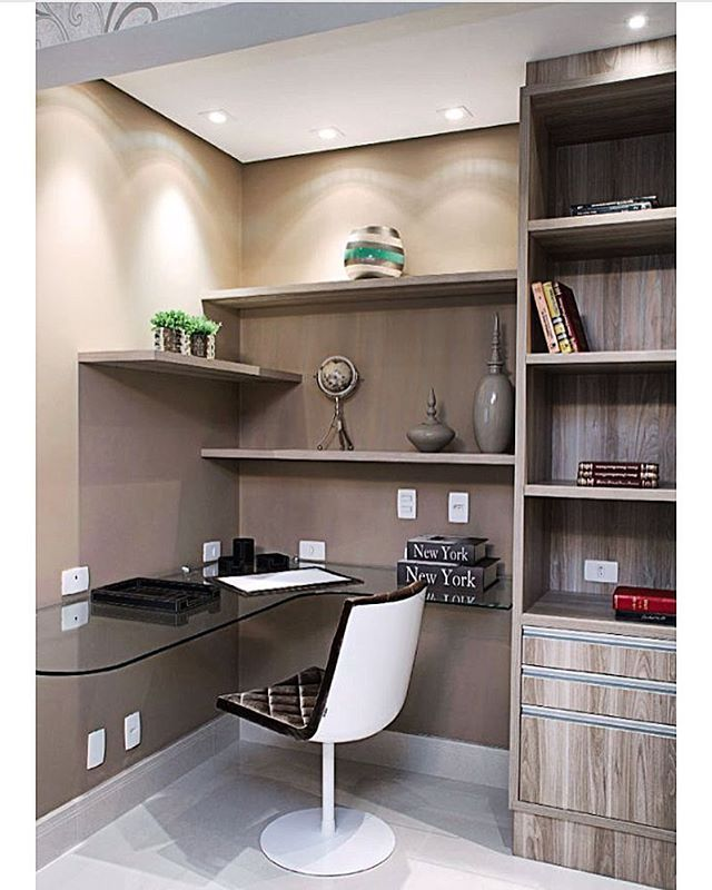 Corner shelving and recessed lighting