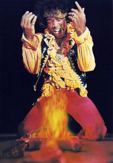 Vintage Music Legend Jimi Hendrix Guitar on Fire Postcard Made by Winterland Productions, which ironically, I worked for in the late 1980's