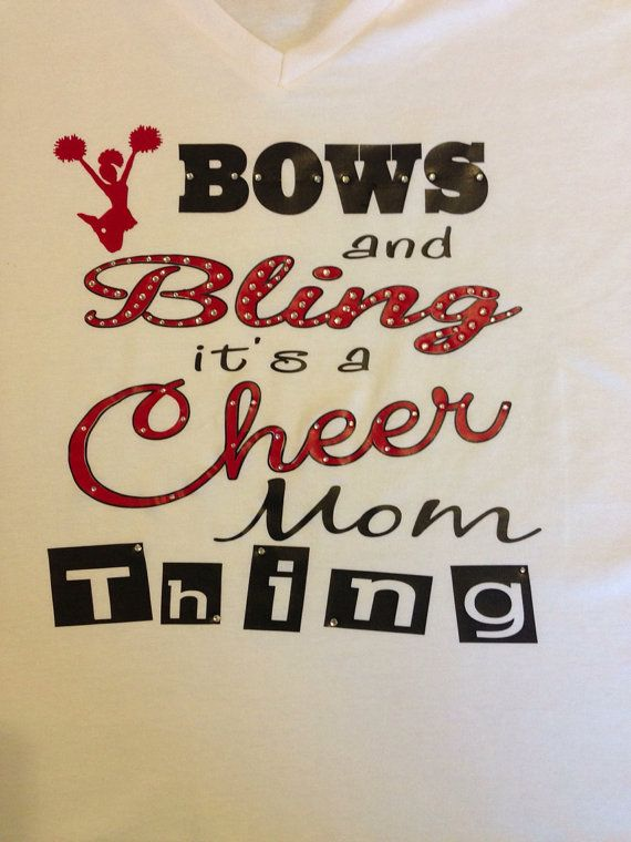Bows & Bling Cheer/Cheer Mom T-Shirt via Etsy