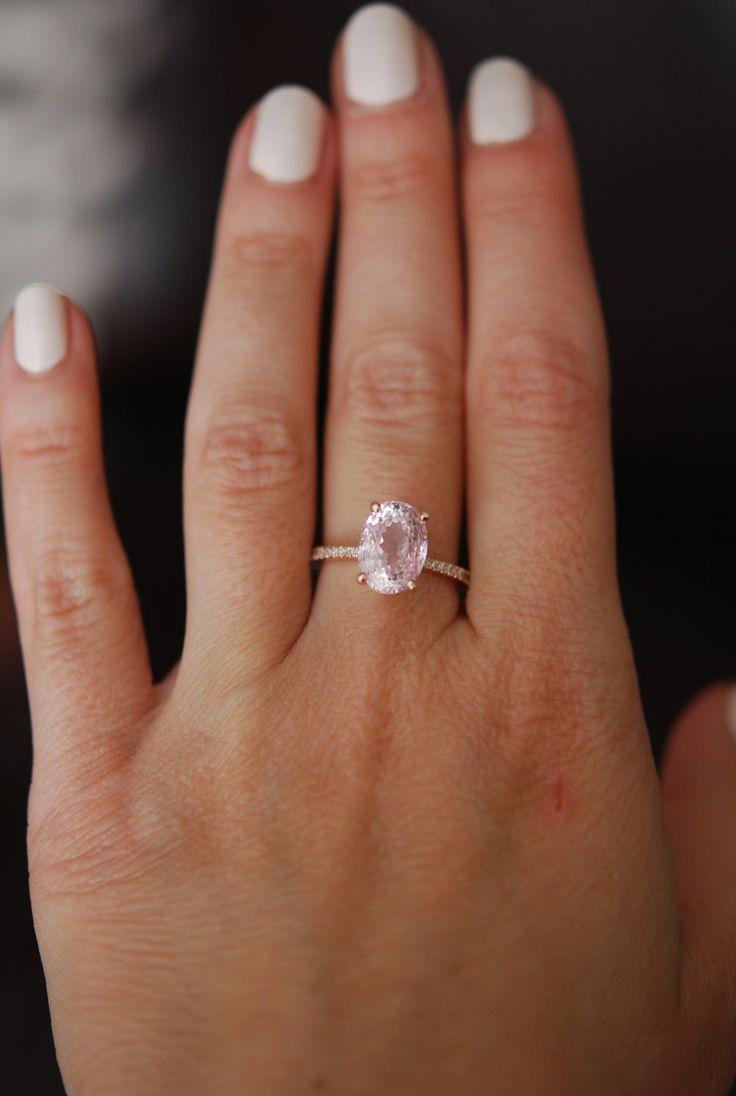 Peach Champagne Sapphire Engagement Ring. Oval cut. 14k rose gold diamond ring 5.35ct peach champagne sapphire ring by Eidelprecious