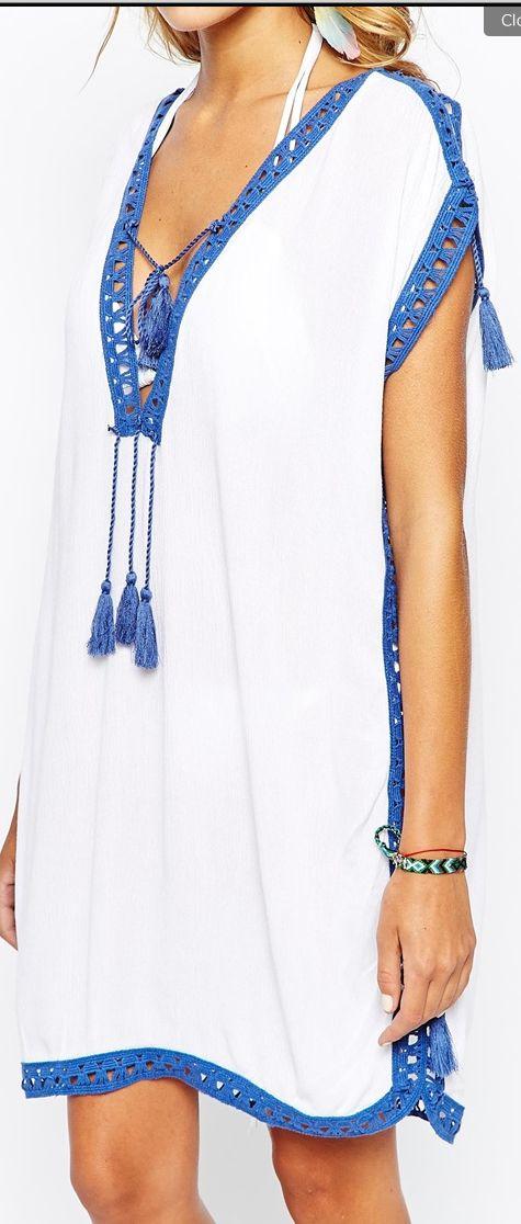 Asos Caftan--- $48, crochet trim and tassel cover up