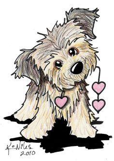 Border Terrier Heart Strings Leinwanddruck / Leinwandbild von Kim Niles