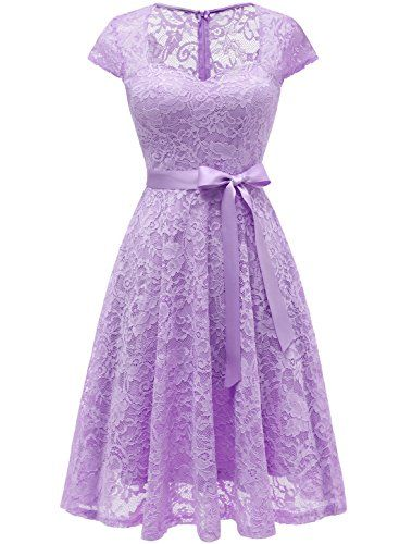 6080f6b0ff3ddb Aupuls Vestido De Fiesta Corto Encaje Hata La Rodilla Escote Corazón Manga  Corta Elegante Mujer Lavanda