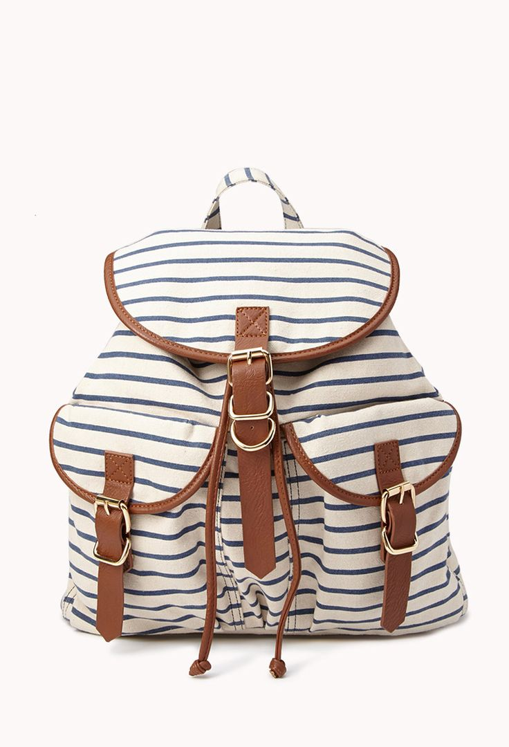 Nautical Striped Backpack | FOREVER21 - I don't do backpacks, but this one is cute! and I think I might need one with baby #2