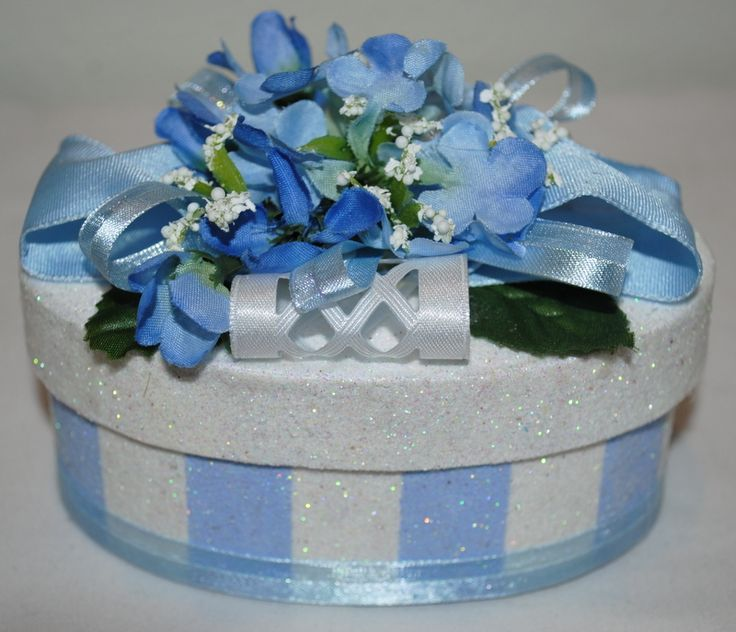 """""""The Chrissie"""" GIFT BOX/Cake Topper, Beautiful blue and white stripes with matching flowers on top make this GIFT BOX A perfect place to tuck away a piece of jewelry for that someone special. Not only do they get the gift inside, but they get the decorated GIFT BOX as a treasured keepsake!! Or, place a GIFT CARD inside. #decoratedgiftboxes #handmadegiftboxes #decoratedboxes"""