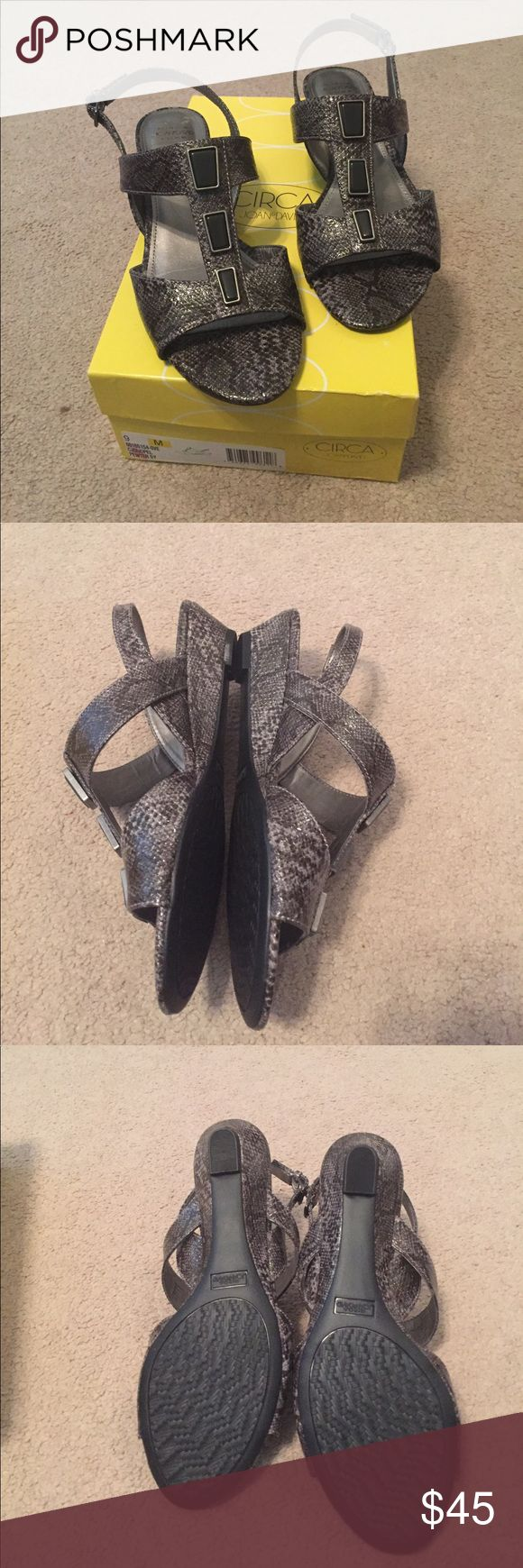 SALE New Joan & David Pewter Sandals New Joan & David pewter snake sandals.   Comfortable Wedge heel.  Size 9. Joan & David Shoes Sandals