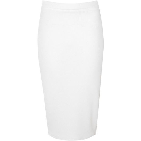 White Exposed Zip Pencil Skirt (46 CAD) ❤ liked on Polyvore featuring skirts, white, holiday skirts, white pencil skirt, knee length pencil skirt, mid length skirts and exposed zipper skirt