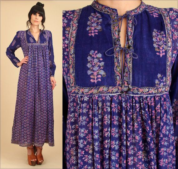 ViNtAgE 70's RARE INDIAN Cotton Bohemian Maxi Dress India Gauze 1970s Style Fashion by hellhoundvintage