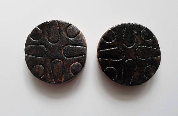 Black Glazed Tiles Set of Two Handmade Original Medallion or