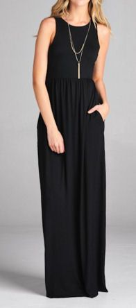 Simple and classy black maxi dress with pockets.