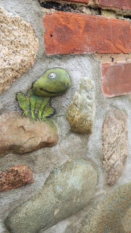 """David Zinn: """" I've been told that everyone's experiences each day are generally as good or as bad as what they expected. If so, this frog is going to have a very good day."""""""