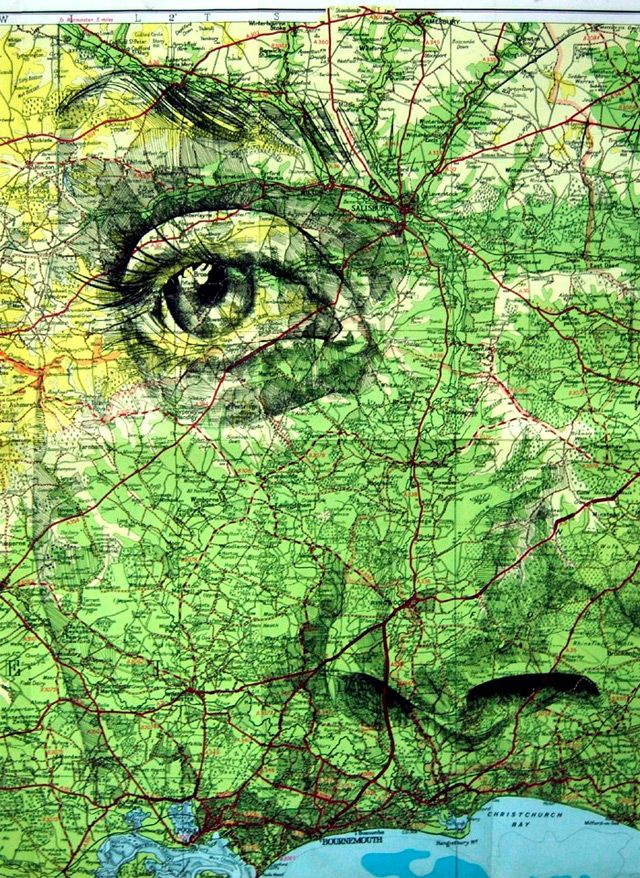 Ink on a '30 Miles Around' map of Bournemouth — Portraits Drawn on Maps series by Ed Fairburn