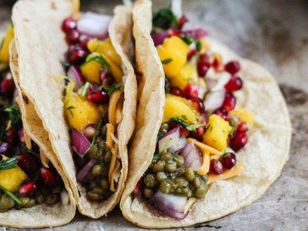 Salsa Verde Lentil Tacos With Mango-Pomegranate Pico | 22 High-Protein Meatless Meals Under 400 Calories