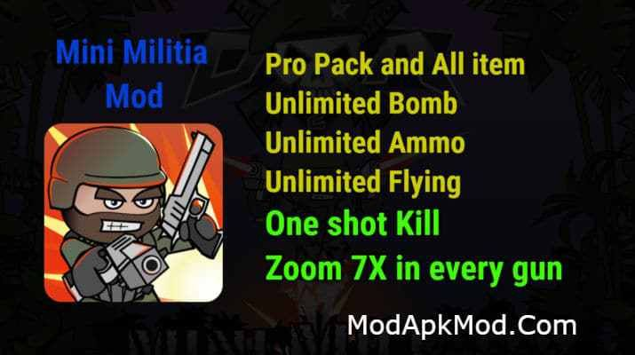 Mini Militia One Shot Kill + Unlimited Nitro + Ammo + Bomb +