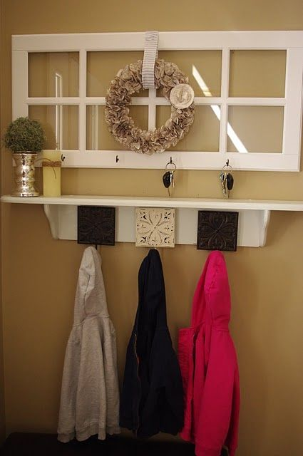 Repurposed window frame; entry organization, as you can tell I am becoming quite a fan of old window frames for different uses..now to just find some...