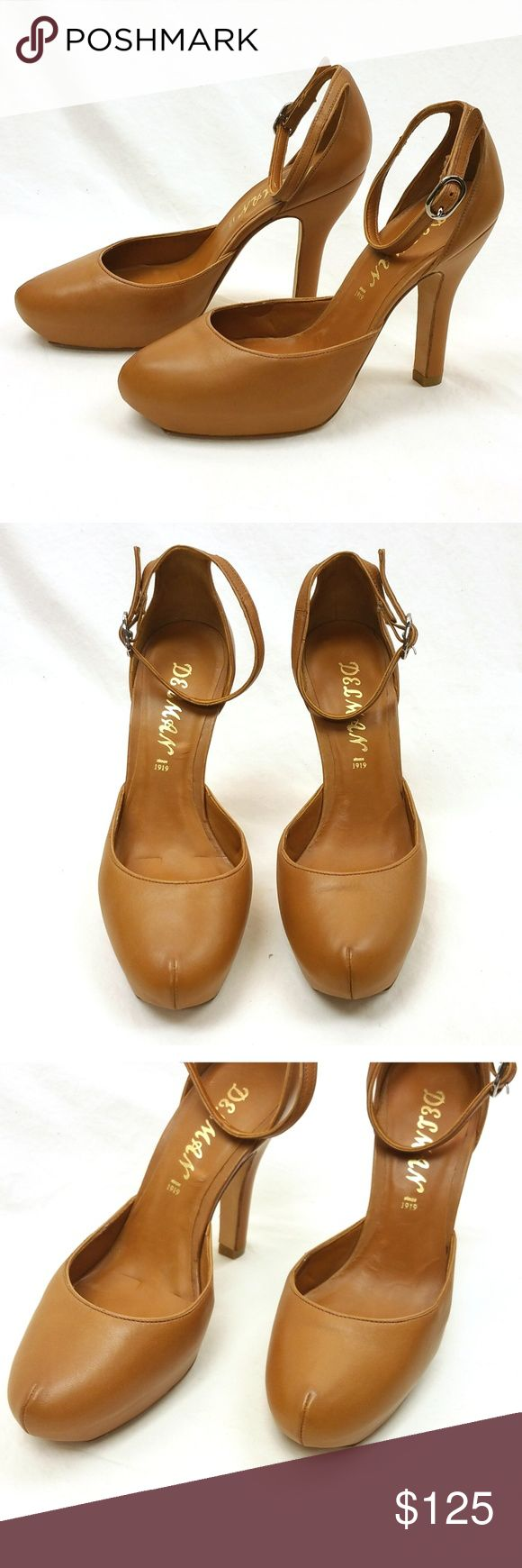 VTG Delman Leather Strappy Pumps Heels Tan Camel Gorgeous vintage Delman leather strappy pump sandals in warm camel!  I did so much research on these and was unable to pinpoint the era these were made in but they really don't show their age.  They were made in Spain sometime prior the 1980s.    Founded in 1919, Delman still makes gorgeous, high quality shoes but these heels in particular are just stunning.  Very light wear; one small dark spot shown in photos.  No major damage otherwise…