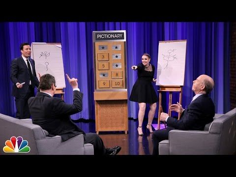 Jimmy and J.K. Simmons team up against Lena Dunham and Steve Higgins in a game of Pictionary.
