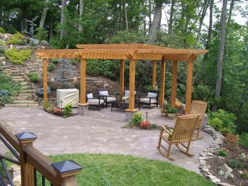 paver patio with pergola. Tumbled Dublin Cobble Concrete Paver Patio, Natural Stone Steps And Wall, Pergola Patio With